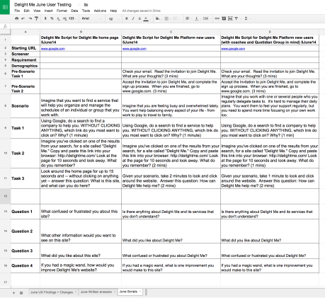 Spreadsheet - 1st Iteration of Delight Me homepage usability test